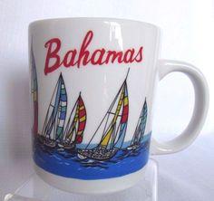 Mug Bahamas Sailboats Ocean Coffee Cup Souvenir Display Barware Decor Small Flaw