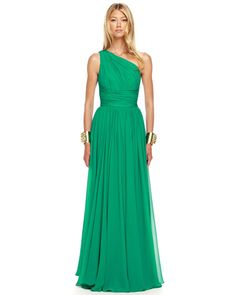 Michael Kors Ruched One-Shoulder Gown