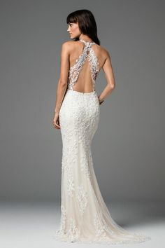 Shop designer bridal gowns like the Sookie Style 58702 dress by Willowby and other bridal accessories at Blush Bridal. Mermaid Gown, Lace Mermaid, Galina Wedding Dress, Bridal Dresses, Wedding Gowns, Lace Weddings, Wedding Cakes, Wedding Venues, Backless Gown
