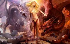 Fantasia Dragão  Warrior Escuridão Tattoo Fantasia Papel de Parede