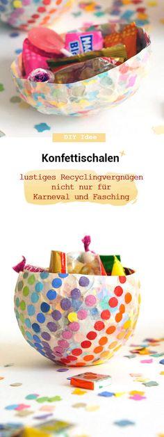 Konfettischale aus Pappmasche selbermachen, einfaches diy für süße  Bonbon aufbewahrung, recycling Papier, Bonboniere, Luftballon, basteln  mit Kindern, Kinder, basteln, Bastelidee, diyidee, Süßigkeiten,  Fasching, Karneval, Fastnacht #recycling #Kofetti #bastelnmitkindern Partys, Diy And Crafts, Paper Mill, Colored Paper, Confetti, Wrapping Papers, Balloons, Carnival