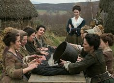 Claire watching the village women waulking dyed wool | Outlander S1E5 'Rent' on Starz | Costume Designer TERRY DRESBACH