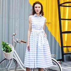 Summer Women Shirt Dress High Rise A-line Striped Tank Dress With A Bow Decor