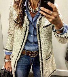 fall outfit. blue shirt. denim. gucci belt. street style.