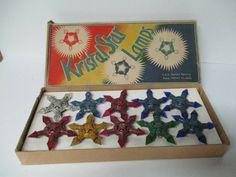 10 Vintage 1930's KRISTAL STAR C-6 Christmas Lights in Original Box #Christmas