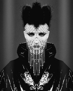 The Predatory Pose #mask #symmetry #bw #fashion #portrait