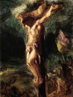 Christ on the Cross (sketch) by DELACROIX, Eugene #art