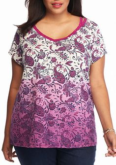 New Directions® Weekend Plus Size Cutout Printed Top