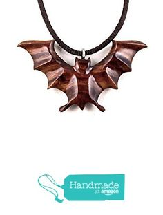 Bat Pendant Necklace Bat Jewelry Hand Carved in Cocobolo Exotic Wood from GatewayAlpha https://www.amazon.com/dp/B01MPXUIZ5/ref=hnd_sw_r_pi_dp_a5ShybV2JYHHD #handmadeatamazon