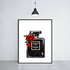 Chanel Noir perfume with roses art print Chanel poster Chanel