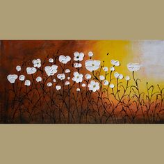 ORIGINAL Oil Painting At Sunset 23 X 45 Flowers Daisies Abstract Sky Colorful Modern Palette Knife Big Brown White Yellow ART by MArchella on Etsy, $285.00