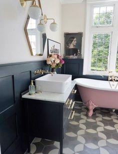 Ideal pink bathroom suite just on home design ideas site Bathroom Paneling, Wood Bathroom, Downstairs Bathroom, Blush Bathroom, Bathroom Vanities, Bathroom Furniture, Wooden Furniture, Family Bathroom, Budget Bathroom