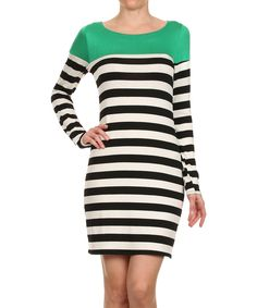 Look what I found on #zulily! J-Mode USA Los Angeles Green & White Stripe Shift Dress by J-Mode USA Los Angeles #zulilyfinds