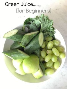 Green Juice for Beginners..   Recipe: 5 kale leaves, 1/2 cup baby spinach, 1 cup green seedless grapes (approx. 20 grapes), 1 small granny smith apple, 1 English cucumber, 1/2 cup water (if using a blender).