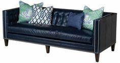 blue leather sofa that makes the house so comfortably
