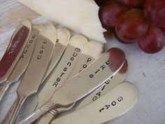 Cheese Markers Cheese Knives Holiday Knives Pick any Five by BabyPuppyDesigns on Etsy https://www.etsy.com/listing/111335827/cheese-markers-cheese-knives-holiday