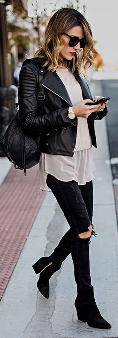 Hooded Leather Moto Jacket with Nude Silk Hem Sweater and Distressed Black Skinny Jeans, Black Suede Booties