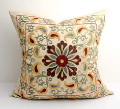 20x20 fully silk handmade embroidery suzani pillow by SilkWay