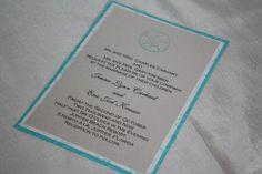 Aqua sand dollar wedding invitation
