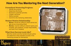 How Are You Mentoring the Next Generation? #AGLEGACY.org #FarmSuccession  Formalized Mentoring Program Mentor/Mentee Relationship What Does Success Look Like?