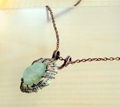 La Playa Pendant Necklace - Rough Gemstone Wirewrapped Limpet Shell Aquamarine Copper Metalwork Pendant March Birthstone Pisces Jewelry by JennieVargasJewelry on Etsy