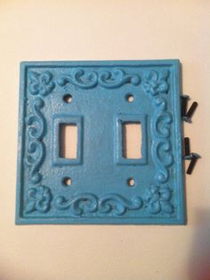 Hey, I found this really awesome Etsy listing at https://www.etsy.com/listing/174932200/cast-iron-double-turquoise-switch-plate