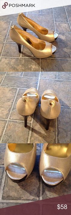 "Gold Michael Kors Heels Gorgeous gold MK 4"" heels in perfect condition. Gold MK button in back. Dark brown heel. MICHAEL Michael Kors Shoes Heels"