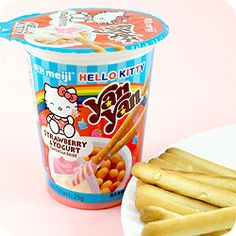 Buy Meiji Hello Kitty Yan Yan Stick Dip - Strawberry Yoghurt at Tofu Cute PD Hello Sanrio, Strawberry Dip, Japanese Snacks, Rilakkuma, Ben And Jerrys Ice Cream, Food Packaging, Cute Food, Cool Gifts, Tofu
