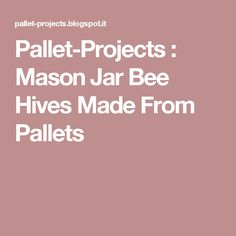 Pallet-Projects  : Mason Jar Bee Hives Made From Pallets
