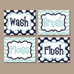 Kid Bathroom Wall Art Boy Artwork Brothers Wash Brush by TRMdesign