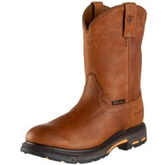 Ariat Men's Workhog Pull-On Composite Toe Boot Ariat. $149.99. Self-cleaning, non-tracking outsole tread design. Composite Toe. leather. Premium full-grain leather. Shock Absorbtion. Rubber sole. Goodyear welt construction