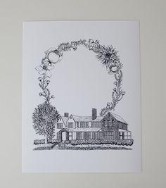 Gitt Memorial Library with wreath art print by Sarah Getchell, via gatehillprints on Etsy.