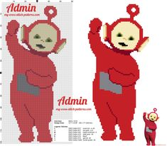 Po the red and youngest Teletubbies cross stitch pattern free