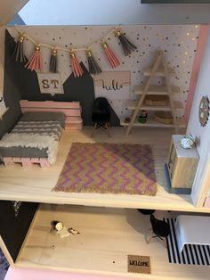 This is nice for Barbies and 18 inch dolls such as American Girl Dolls and Journey Girls. - This is nice for Barbies and 18 inch dolls such as American Girl Dolls and Journey Girls. Girls Dollhouse, Modern Dollhouse, Diy Dollhouse, Diy Barbie Furniture, Kids Room Furniture, Dollhouse Furniture, Furniture Ideas, Bedroom Furniture, Mini Doll House