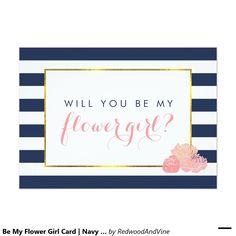 Be My Flower Girl Card | Navy Stripe & Blush Peony