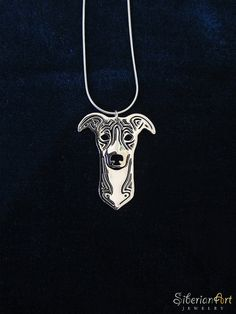 Whippet (or greyhound) jewelry sterling silver by SiberianArtJewelry on Etsy, $99.00