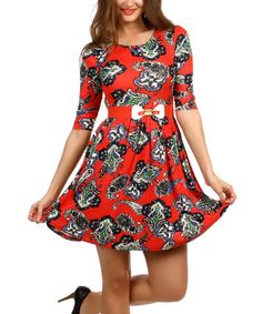 Look at this Duse Coral Paisley Belted Fit & Flare Dress on #zulily today!