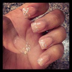Glitzy nails ... Nude base, glitter French style polish