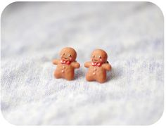 Christmas earrings polymer clay gingerbread man от CloverPowers