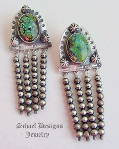 Schaef Designs hubei turquoise & sterling silver Navajo Pearl waterfall post earrings | New Mexico