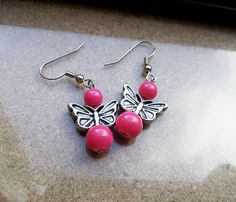 FOR SALE - Butterfly Earrings, teens, kids, ladies, cute, pretty, lovely, pink, ready to ship, free shipping