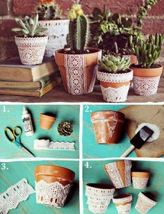 Pretty Lace Flower Pots & DIY Decor Inspiration: 14 Eco Crafts for the Home | Pinterest ...