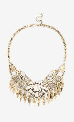 Crystal leaf statement necklace