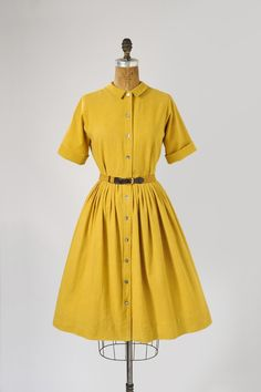 gorgeous mustard shirtwaist dress from missfallaloft.etsy.com