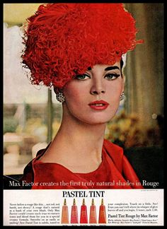 1963 Pastel Tint #Rouge Max Factor Red #Decorative #Hat #Model #Vintage #1960s #Ad #MaxFactor
