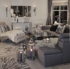 Gray and white living room grey living room decor black and grey living room inspirational best . gray and white living room decorating Beige Living Rooms, Glam Living Room, Cozy Living Rooms, Living Room Interior, Apartment Living, Living Room Decor, Decor Room, Dining Room, Living Spaces