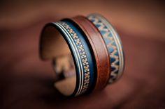 Leather bracelet norvegian style - Handmade in France by Bandit