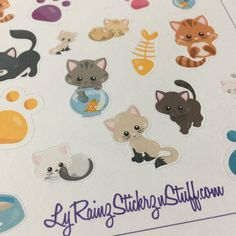 Cat/Kitten Stickers for the Passion Planner, Happy Planner, Erin Condren, Bujo, Kikkik, Filofax and more by LyRainzStickrzNStuff on Etsy
