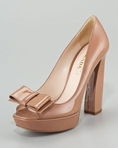 Prada Patent Leather Peep Toe Bow Pump