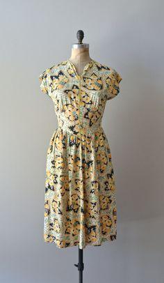vintage 40s dress / cotton 1940s floral print dress by DearGolden, $88.00